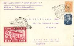 "(Airship) Moscow to Germany, Friedrichshafen, bs 11/9, franked 95k inc Russia Zeppelin 80k tied by black dated Zeppelin cachet postmark, typed ""Mit Luftschiff 'Graf Zeppelin'/Moskau-Friedrichshafen"", plain cover, S85B(100 Euro)."