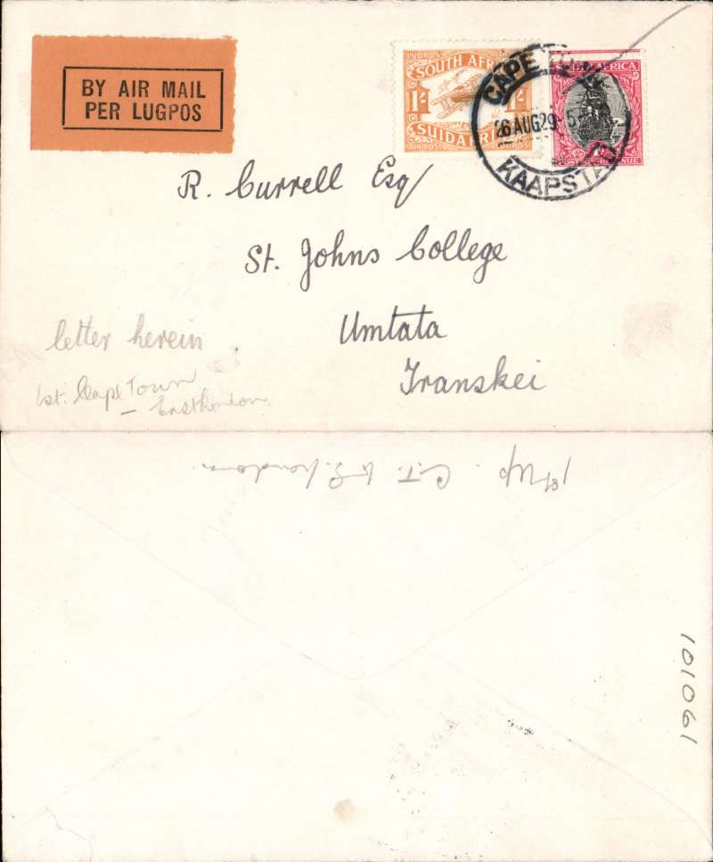 "(South Africa) F/F  Regular Airmail Service in South Africa, Cape Town to Umtata, Transkei, no arrival ds,  ""Per Air Mail-Lugpos"" cachets, plain cover franked 1/1d."