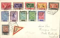 (Spain) Seville Exp Goya, Seville to Madrid, cover franked 1930 Goya airs to 1P and 20c 'Urgente' canc special Expo hexagon postmark, tying triangular red/cream 'Par Avion' etiquette. Attractive item.