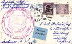 (Airship) Aug 7, 1926, Round the World Flight, Lakehurst to Friedrichshafen, bs 10/8, PPC franked 53c, canc New York Aug 6 cds, large violet US confirmation cachet.