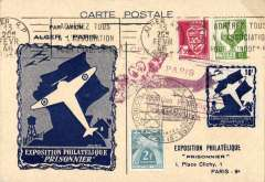 "(Algeria) F/F Alger from Paris, blue/cream souvenir card commemorating Paris 'Prisonnier' Expo"", franked 2F50 + 2f Tax tied by black 'Stalag/15 Feb 46, red 'Alger-Paris/Exposition Philatelique/Prisonnier' cachet."