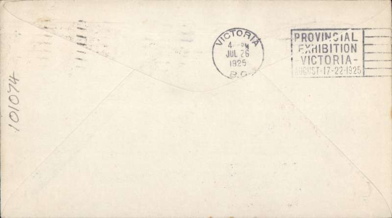 (United States) Seattle to Victoria, bs 'Victoria BC/Jul 26  1925',plain cover franked US 2c, canc 'Seattle, Wash/Jul 26 1925',  framed 'Seattle/Victria/Seaplane/Mail' and 'Seattle, Wash/Seaplane  Mail/Victoria, BC', and ms endorsement 'By SS Pres McKinley'. MULLER #217, cat  5000 Ff.