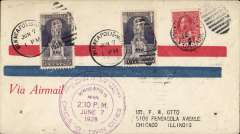 (Recovered Interrupted Mail) Crash Mendotta, Minnesota, CAM 9 return flight Mineapolis to Chicago, airmail cover franked US 10c and Canada 3c, large violet circular 'Minneapolis/June 7 1926/Chicago' flight cachet.