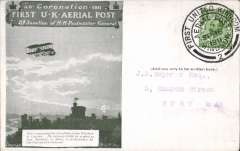 (GB Internal) Coronation Aerial Post, public mail, olive green Windsor to London card, addressed to West Ham, posted from Windsor, die number 2 cancel.