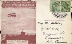 (GB Internal) Coronation Aerial Post, public mail, red brown London to Windsor card, addressed to Vancouver, Canada, fine strike die 2 London postmark. Several edge nibbles.