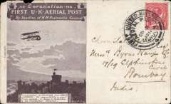 (India) Coronation Aerial Post, inward to India from London, Bombay-Aden/Sea Post Office/24 SE.11 arrival ds verso,  dark brown London to Windsor card, postmarked die number 4 London cancel. LH top edge nibble and small worm hole bottom rh corner.