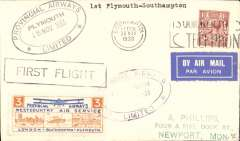 """(GB Internal) Inauguration of the third GB Internal Airmail Service, """" West Country Air Service"""", Plymouth to Southampton, 3d orange bi-coloured vignette tied by Plymouth depart cachet, Southampton POA arrival cds, plain etiquette cover,  Provincial Airways Ltd. The  service operated for six days only"""