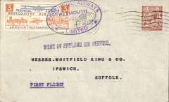 """(GB Internal) Inauguration of the third GB Internal Airmail Service, """" West Country Air Service"""", Plymouth to London, 3d orange bi-coloured vignette tied by Plymouth depart cachet, London POA arrival cds, plain etiquette cover,  Provincial Airways Ltd. The  service operated for six days only"""
