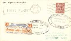 (GB Internal) Provincial Airways, Plymouth-Croydon round trip, F/F cover franked with special 3d flight fee label and special Croydon and Plymouth cancels.