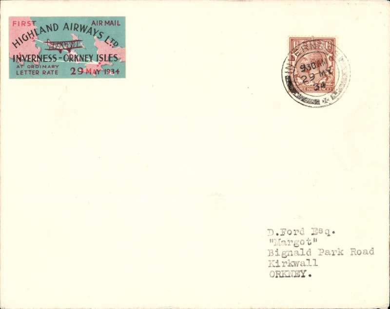 "(GB Internal) Highland Airways, F/F Inverness to Kirkwall, no arrival ds, plain cover franked 1 1/2d, pink/black/green 1st vignette. ""Covers bearing the vignette are considerably scarcer"" see Redgrove, p43. Francis Field authentication hs verso."