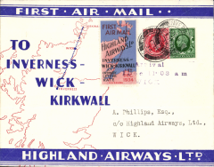"""(GB Internal) Highland Airways F/F Inverness to Wick, three line arrival confirmation cachet tying special red/blue vignette, red/blue/ivory company envelope printed specially for the Dec 1st flights showing outline map North of Scotland and  map of route, franked 1 1/2d, canc Inverness cds. """"Covers bearing the vignette are considerably less common than plain covers"""" see Redgrove, p43"""