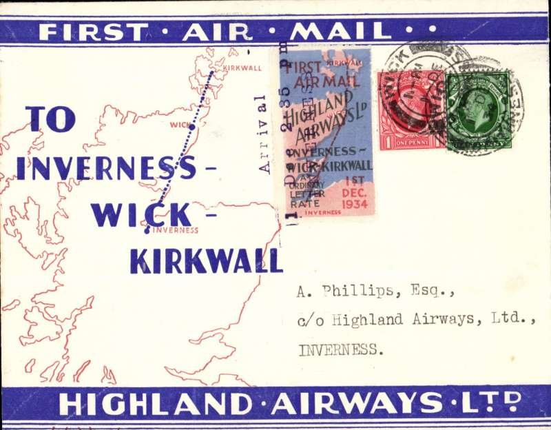 """(GB Internal) Highland Airways F/F Wick to Inverness, three line arrival confirmation cachet tying special red/blue vignette, red/blue/ivory company envelope printed specially for the Dec 1st flights showing outline map North of Scotland and  map of route, franked 1 1/2d, canc Wick cds. """"Covers bearing the vignette are considerably less common than plain covers"""" see Redgrove, p43"""