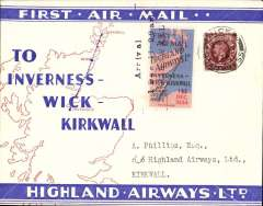 """(GB Internal) Highland Airways F/F Wick to Kirkwall, three line arrival confirmation cachet tying special red/blue vignette, red/blue/ivory company envelope printed specially for the Dec 1st flights showing outline map North of Scotland and  map of route, franked 1 1/2d, canc Wick cds. """"Covers bearing the vignette are considerably less common than plain covers"""" see Redgrove, p43"""