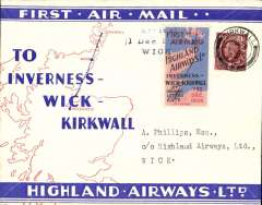 """(GB Internal) Highland Airways F/F Kirkwall to Wick, b/s, also three line arrival confirmation cachet tying special red/blue vignette, red/blue/ivory company envelope printed specially for the Dec 1st flights showing outline map North of Scotland and  map of route, franked 1 1/2d, canc Kirkwall cds. """"Covers bearing the vignette are considerably less common than plain covers"""" see Redgrove, p43"""