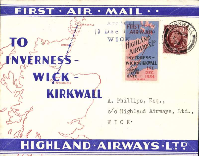 "(GB Internal) Highland Airways F/F Kirkwall to Wick, b/s, also three line arrival confirmation cachet tying special red/blue vignette, red/blue/ivory company envelope printed specially for the Dec 1st flights showing outline map North of Scotland and  map of route, franked 1 1/2d, canc Kirkwall cds. ""Covers bearing the vignette are considerably less common than plain covers"" see Redgrove, p43"