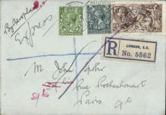 (GB External) First airmail to France by Aircraft Transport and Travel Ltd,, London to Paris, verso small black '35/IX' in circle Parisien postal mark, registered (label) envelope franked 2/6d seahorse special fee and 4 1/2d to cover ordinary foreign postage and registration fee, cancelled 'London Chief Office/10 Nov: 1919', 2/6d also tied by violet crayon stroke, ms 'By Aerolane/Express' and '5G'. A rare item in fine condition, Newall 19.35.