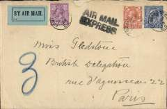 (GB External) 1920 London to Paris cover, b/s, franked 2d, 2 1/2d and 6d all tied by 'Lombard Street' cds's (2d air fee 2 1/2d postage, 6d Express letter fee), black two line 'Air Mail/Express' hs, blue 'By Air mail' label (introduced Aug 17, 1920), large '3' in blue crayon the office number in the Pneumatic Post Service and two interesting Paris arrival date stamps - Paris * (held overnight at head P.O.) and Paris 3 (6 Bde. Malesherbes). The air fee was reduced to 2d on July 22, 1920.