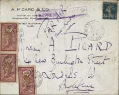 (France) 1920 Paris to London, ms 'Recu' 21-1-20 'on flap, franked Sower 25c and Merson 1f x3, posted at Rue de Burgoyne and handstamped at St. Germain on the same day, violet framed 'Express Fee Paid 3d', ms 'Par Air/Paris-Londres. Postage of 25c was eqivalent to 2 1/2d, and an air fee of 3f was equivalent to 2/6d.