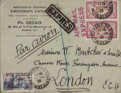 """(France) 1920 Paris to London flight, bs 'London EC/ 18 (pm)/4 Oct 20'  and 'London WC/4 Oct 20' ds's, commercial corner cover franked Merson 1f x2, canc Paris 11.45/4-10-20 tied by red two line """"Air Mail/Express"""" hs, black framed 'Expres' hs. ms 'Par Avion', also special  'Meeting Aeronautique/De Buc/Octobre 1929' Guynemer label also tied by Paris 11.45/4-10-20 cds. This label had no face value but it had to be affixed to any item of mail posted at the meeting. The first French use of the """"Air Mail Express"""" cachet was on May 14, 1920."""