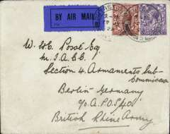 (GB External) Instone Air Line, 1923, non stop direct London to Cologne, and on to Berlin, APO S40 with 'B' code arrival ds verso, plain cover addressed to British Rhine Army, franked GB 2 1/2d, all tied by 'Putney cds, dark blue/black airmail etiquette. Army Post Office S40 B code was located at the Courier Office Berlin from 6/1/23 to 13/8/26. Mail travelled from Cologne to Berlin by surface. The Cologne non stop service was opened on May 14, 1923 and was maintained by Instone Air Line until its incorporation into Imperial Airways on 31/3/1924. A scarce item in fine condition.