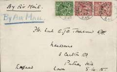 (GB External) Instone Air Line, 1922, Cologne to London, plain cover franked GB 1/2d, and 1 1/2d x2 (British Army Personnel  were allowed to use British stamps), all tied by 'APO/S 40 code 'A', ms 'By Air Mail', dark blue/black airmail etiquette. Army Post Office S40 code 'A' was located at the Rhiel Barracks, Cologne from 14.6.22 to 28.11.25. The Cologne service was opened on October 10, 1922 and was maintained by Instone Airlines until its incorporation into Imperial Airways on 31/3/1924. A scarce item in fine condition.