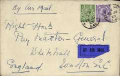(GB External) Instone Air Line, 1923, non stop direct  Cologne to London, Hotel Monopol-Metropol Koln cover addressed to the Rt. Hon. Paymaster General, franked GB 1/2d and 3d (British Army Personnel  were allowed to use British stamps), all tied by 'APO/S 40 code '2', ms 'By Air Mail', dark blue/black airmail etiquette. Army Post Office S40 was established in Cologne in 1919 to provide postal support for the first British Army of the Rhine (BAOR). The Cologne non stop service was opened on May 14, 1923 and was maintained by Instone Air Line until its incorporation into Imperial Airways on 31/3/1924. A scarce item in fine condition.