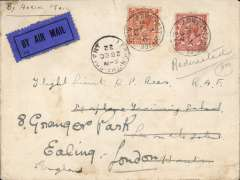 (GB External) Instone Air Line,1922, Cologne to London, 'Rhine Forces Officers' Club/British Forces on the Rhine (printed on flap) cover addressed to 'The Seaplane Traiing School, Leigh on Solent', 28 Oct/22 arrival ds on front, franked GB 2d air fee and 1 1/2d (British Army Personnel  were allowed to use British stamps), all tied by 'APO/S 40 code '3 ', ms 'By Aerial Mail', dark blue/black airmail etiquette. Army Post Office S40 code '3' was used at the head APO in Cologne. The Cologne service was opened on October 10, 1922 and was maintained by Instone Air Line until its incorporation into Imperial Airways on 31/3/1924. A scarce item in fine condition. A cover with fine historical connections.