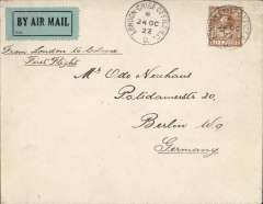 (GB External) Instone Air Line first flight,  the opening of the public air mail service, London to Cologne, '25 Oct 1992' receiver verso, plain cover franked 2d air fee and 3d postage, canc 'London Chief Office/24 Oct/22', black/blue green airmail etiquette P25, ms 'From London to Cologne/First Flight'.
