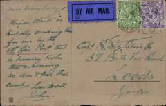 (GB External) Instone Air Line first return flight, the opening of the public air mail service, Cologne to London and on to Leeds, PPC franked 2d air fee and 1 1/2d postage, all tied by 'APO/S 40 code '3 ', black/dark blue airmail etiquette P25. The Army Post Office S40 code '3' was used at the head APO in Cologne. The Cologne service was opened on October 10, 1922 and was maintained by Instone Air Line until its incorporation into Imperial Airways on 31/3/1924. Letters posted through British Army Post Offices at Cologne and Berlin had british adhesive stamps cancelled 'Army Post Office S. 40'. A scarce item in fine condition.