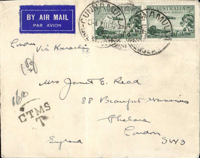 """(Australia) Cunnamulla to London, underpaid cover embossed """"Commonwealth of Australia/Attorney General"""" on flap with Kangaroo, Emu and Shield, franked Australia 3d air x2, black (ms 160) over 'CTMS/T in circle hs, ms 'London via Karachi'."""