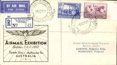 (Australia) Airmail Exhibition Melbourne, souvenir cover with Air Mail Exhibition Melbourne registration label flown Melbourne to Huddersfield, England,  'Recd. Oct 21, 1937 ' verso signed by recipient, franked 1/9d canc special exhibition pictorial cancellation,