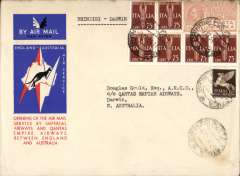 (Italy) F/F Brindisi to Darwin, bs 19/12, first Italian acceptance for first regular IA/ITCA/Qantas weekly service United Kingdom to Australia', red/white/blue souvenir 'Kangaroo'  cover franked 6l 50 inc 1926 1L50 air.
