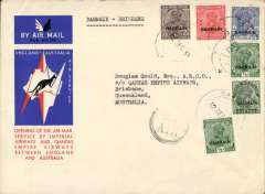 """(Bahrain) First acceptance of mail from Bahrain for Australia for carriage on the first regular Imperial Airways/Qantas Australia-England service, Bahrain to Brisbane, bs 21/12, official souvenir red/white/blue 'Kangaroo' cover, franked Bahrain opt on KGV 1/2ax2, 1a, 2a, 3a6p and 9p, partial strike circular """"By/Air"""" cachet on face ."""