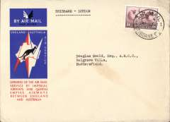 "(Australia) Imperial Airways/Qantas, Brisbane-London, no arrival ds, carried on the first regular service, Australia to England, registered (label) official blue/black/white souvenir ""Kangaroo"" cover, franked 1/6d, canc Brisbane/Air mail cds."