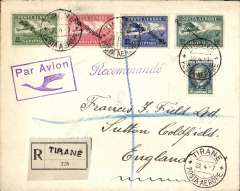 "(Albania) Early airmail from Albania to England, bs Sutton Coldfield 26/4/27, registered (label) commercial air cover to England via Vlone Posta Aerore/9.10.25, Brindisi Transiti/10.10.25"", and Amb.Torino-Modane/ 137/24.4.27 transit cds's, arriving at London and finally 'Sutton Coldfield/26 Aug 27, franked 1927 air set ovpt. 'Republika Shqiptare' to 50q plus 50q ordinary, canc Tirane Posta Aerore/-8.10.25, fine strike violet framed ""Par Avion"" with bird in flight handstamp.The Turin–Modane railway is the international rail connection from Turin, Italy to Modane, France. A fine item with superb marking illustrating the early route from Albania to England. Francis Field authentication hs verso."
