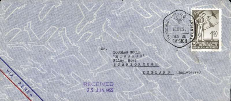 (Argentina) Buenos Aires to England, airmail cover franked FDI 1.50P 25th Anniversary de Services Aerocomerciales, cancelled special datestamp