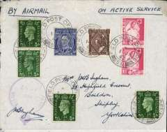 (Egypt) On Active Service airmail, Middle Easter Forces to England, combination cover franked GB 1/2d x4, South Africa 1d x2, Australia 3d and New Zealand 3d, all tied by FPO/531, violet military censor mark 'Passed By Censor/No 4717. Some rough opening along lh edge visible verso only, see scan.