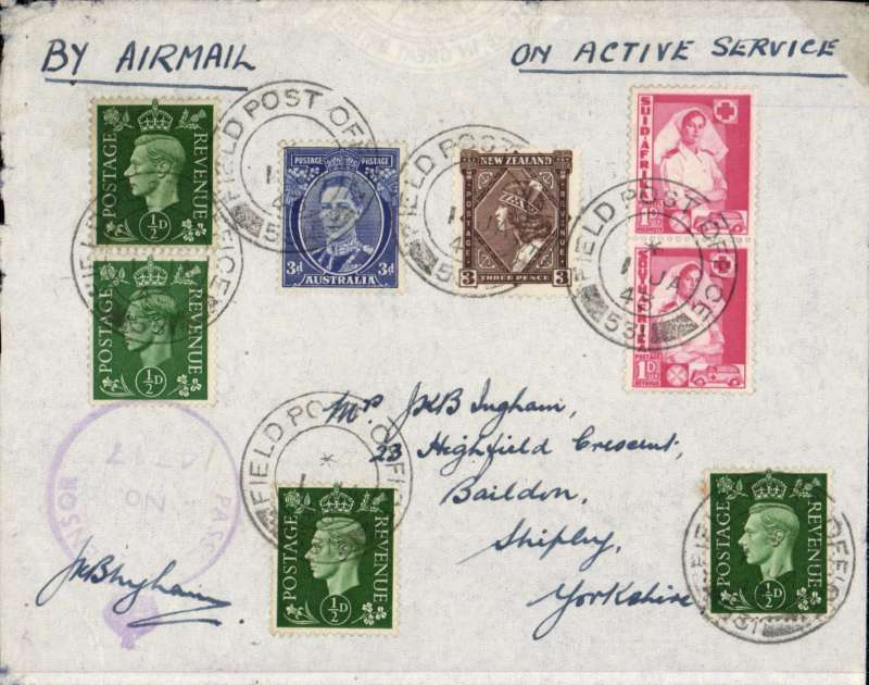 (Egypt) On Active Service airmail, Middle Easter Forces to England, combination cover franked GB 1/2d x4,