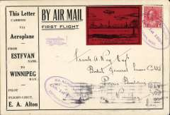 (Canada) F/F Estevan to Winipeg, b/s, printed souvenir cover advertising the region around Estevan, franked 3c tied three line double-oval flight cachet, special black/red $1.00 stamp. The pilot, EA Alton crashed his plane, en route, at Bienfait. Attractive early item.