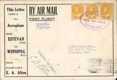 (Canada) F/F Estevan to Winipeg, b/s, printed souvenir cover advertising the region around Estevan, franked 3c tied three line double-oval flight cachet. Signed by the pilot EA Alton. Attractive early item.
