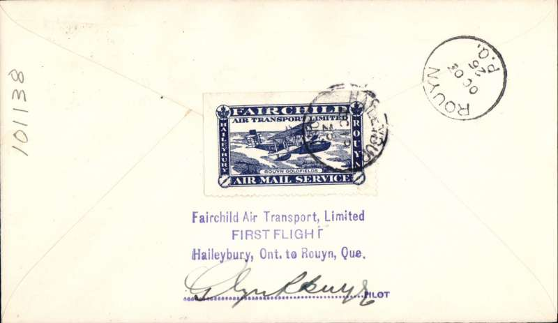 (Canada) Fairchild Air Transport Ltd, F/F Haileybury to Rouyen, bs 12/8, plain cover franked 2c, attractive blue/white company vignette tied by Haileybury 11/8 cds, signed by the pilot Gkyn Burge.
