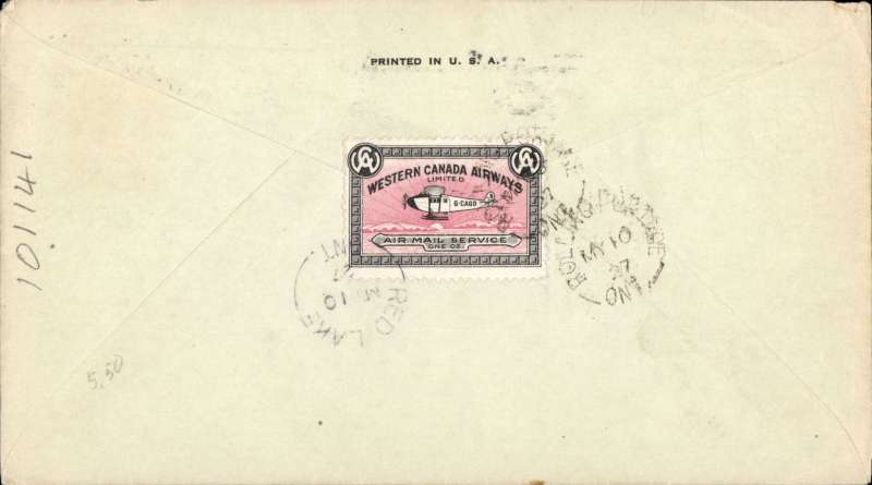 (Canada) Western Canada Airways Ltd, F/F Rolling Portage to Red Lake,bs 10/5, commercial corner cover franked 2c, green two line 'Western Canada Airways Ltd/Red Lake, Ont' hs, verso CL40 stamp tied byRed Lake 10/5 cds.