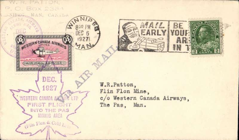 (Canada) Western Canada Airways Ltd, F/F  Flin Flon toThe Pas, plain cover franked 2c and CL40 stamp tied by special Flin Fion cds and special maple Flin Fion flight cachet.