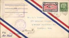 (Canada) Western Canada Airways Ltd,  F/F Sioux Lookout to Pickle Lake, airmail cover franked 2c, canc Sioux Lookout and  CL40 stamp canc special Sioux Look- Pickle Lake arrival cds, also violet flag Sioux Lookout to Pickle Lake F/F cachet.. Signed by the pilot  A.H. Farrington.