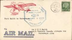 (Canada) Western Canada Airways Ltd,  F/F Fort Smith to Waterways, bs 30/5, attractive red/white/blue CPO approved cover for airmail use only  franked 2c, also CL40 stamp verso with ms cancellation, blue octagonal flight cachet. Flown by 'Punch' Dickens.