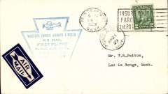 (Canada) Western Canada Airways Ltd,  F/F Prince Albert to Lac La Longe, bs 21/6, plain cover franked 2c, scarce blue flight cachet, also machine cancelled CL40 stamp verso.