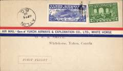(Canada) Yukon Airways and Exploration Co Ltd, F/F Atlin to White Horse, bs 16/4, souvenir airmail cover franked 2c and CL42