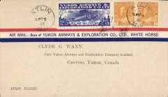 (Canada) Yukon Airways and Exploration Co Ltd, F/F Atlin to Carcross, bs 15/4, souvenir airmail cover franked 1c x2 and CL42.