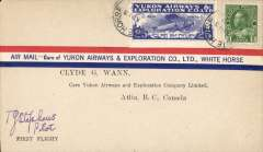 (Canada) Yukon Airways and Exploration Co Ltd, F/F White Horse to Atlin, bs 13/4, souvenir airmail cover franked 2c and CL42. Signed by the pilot T.G.Stephens.
