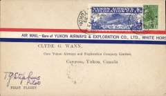 (Canada) Yukon Airways and Exploration Co Ltd, F/F Whitehorse to Carcross, bs 13/4, souvenir airmail cover franked 2c and CL42. Signed by the pilot T.G.Stephens.